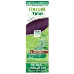 Crema Coloranta pe Baza de Henna Rosa Impex Herbal Time, nuanta 9 Aubergine, 75ml de la esteto.ro