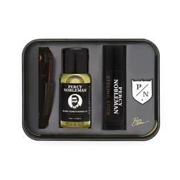 Set cadou - Kit de ingrijire barba Percy Nobleman Travel (stick + ulei 10ml + pieptane + insgna )