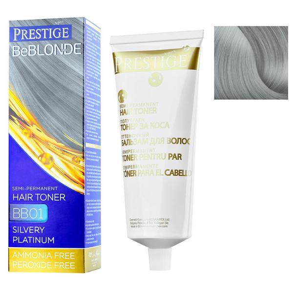 Vopsea de Par Semi-Permanenta Rosa Impex Prestige VIP's BeBlonde Hair Toner, nuanta BB01 Silvery Platinum, 100ml imagine produs