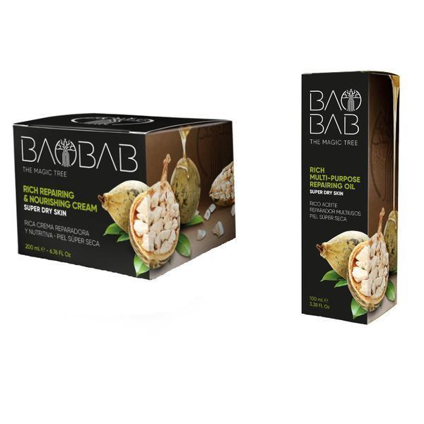 Pachet Crema ultrahidratanta cu ulei de Baobab, 200ml + Ulei reparator de Baobab, 100ml Diet Esthetic imagine produs