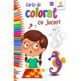 Carte de colorat cu jocuri, editura Gama