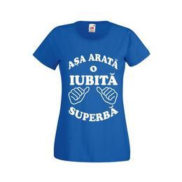 Tricou personalizat Fruit of the loom dama Asa arata o Iubita superba XXL albastru