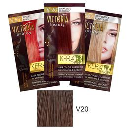 Sampon Nuantator cu Keratina Camco Victoria Beauty Keratin Therapy, nuanta V20 Chocolate, 40ml de la esteto.ro
