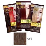 Sampon Nuantator cu Keratina Camco Victoria Beauty Keratin Therapy, nuanta V21 Medium Brown, 40ml