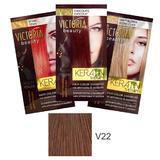 Sampon Nuantator cu Keratina Camco Victoria Beauty Keratin Therapy, nuanta V22 Hazelnut, 40ml
