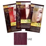 Sampon Nuantator cu Keratina Camco Victoria Beauty Keratin Therapy, nuanta V42 Aubergine, 40ml