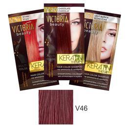 Sampon Nuantator cu Keratina Camco Victoria Beauty Keratin Therapy, nuanta V46 Cherry, 40ml de la esteto.ro