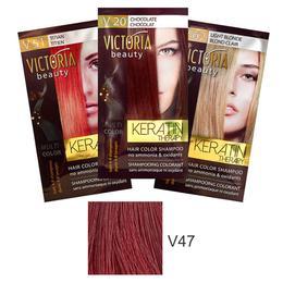 Sampon Nuantator cu Keratina Camco Victoria Beauty Keratin Therapy, nuanta V47 Intensive Red, 40ml de la esteto.ro