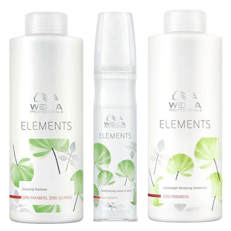 Pachet 2 Wella Elements Renewing - Sampon, Balsam si Spray Leave - In imagine produs