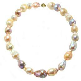 Colier Baroque Perle Naturale Edison cu Inchizatoare Sferica din Aur