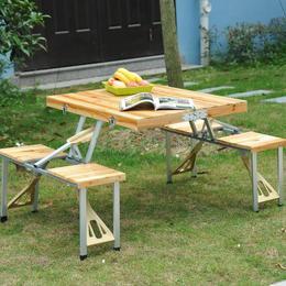 Masa de picnic pliabila cu 4 scaunele integrate - tip valiza - Outsunny