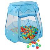Cort de joaca pentru copii, albastru, cu 100 bile colorate incluse - Kiduku