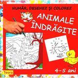 Animale indragite - Numar, desenez si colorez, editura Teora