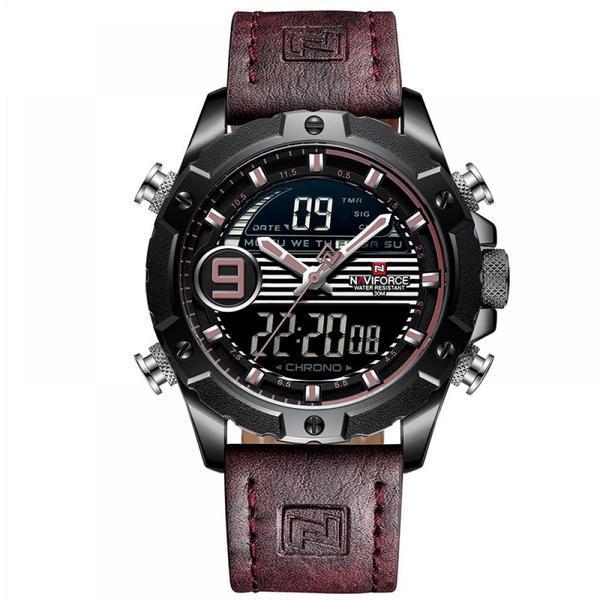 Ceas barbatesc Naviforce Sport mecanism Quartz curea din piele maro rezistent la apa 3ATM(30m) calendar alarma afisaj digital si analogic