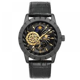 Ceas barbatesc Tevise negru mecanism automatic cu Tourbillon si Moon Phase bratara din piele stil Business + cutie cadou