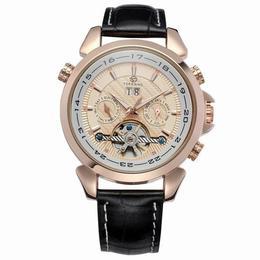 Ceas Forsining curea din piele neagra calendar complet mecanism automatic cu Tourbillon stil Fashion + cutie cadou