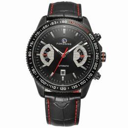 Ceas barbatesc Forsining model sport curea din piele neagra mecanism automatic calendar complet + cutie cadou