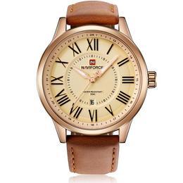 Ceas Naviforce barbatesc Gold mecanism Quartz curea din piele maro rezistent la apa 3ATM(30m) calendar stil Fashion + cutie cadou