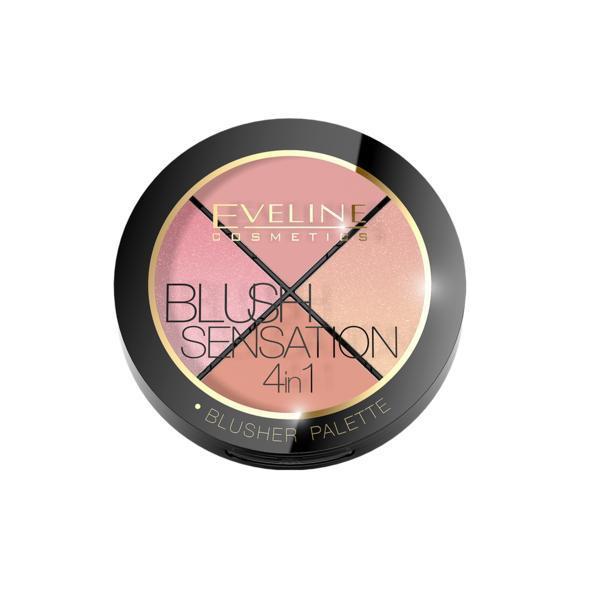 Paleta blush Eveline Cosmetics Blush Contour Sensation 4 in 1, 12 g imagine
