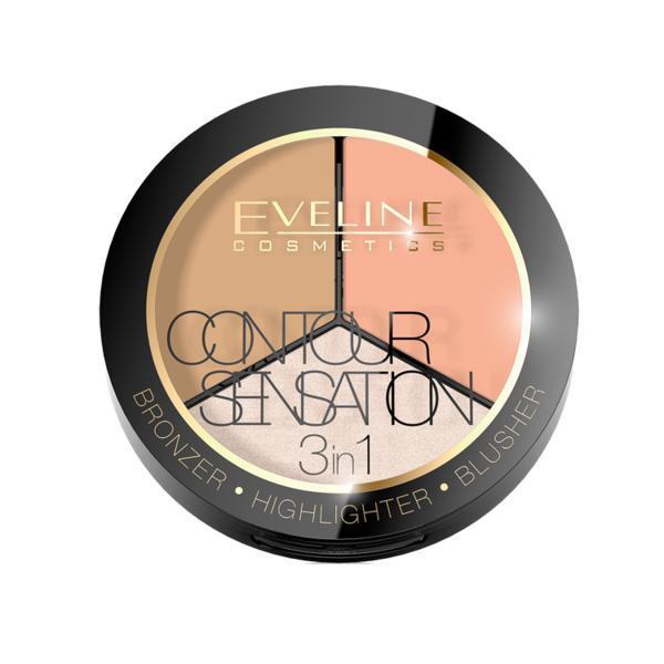 Pudra Contour sensation 3 in 1, Eveline Cosmetics, Peache Beige 15g poza