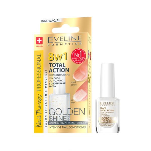 Tratament profesional pentru unghii 8 in 1, Eveline Cosmetics, Golden Shine 12ml imagine produs