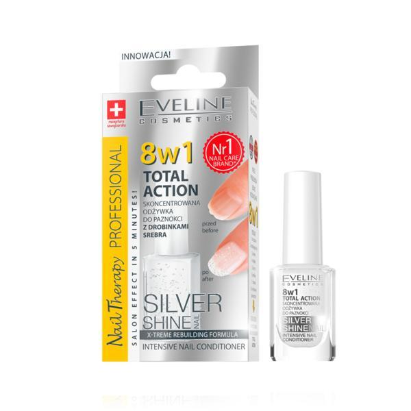 Tratament profesional pentru unghii 8 in 1, Eveline Cosmetics, Silver Shine 12ml imagine produs