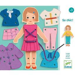 Joc de îndemânare cu șiret fetița se îmbracă - Djeco