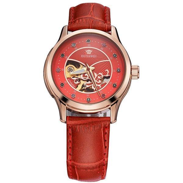 Ceas de dama Ouyawei mecanism automatic curea din piele de culoare rosie rezistent la apa 3ATM(30m) stil Fashion