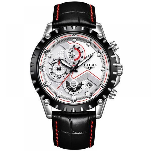 Ceas barbatesc Lige mecanism Quartz curea din piele neagra rezistent la apa 3ATM(30m) calendar chronograph stil Sport