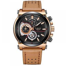 Ceas barbatesc Lige mecanism Quartz curea din piele maro rezistent la apa 3ATM(30m) calendar chronograph stil Sport