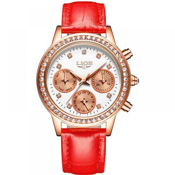 Ceas de dama Lige mecanism Quartz curea din piele de culoare rosie rezistent la apa 3ATM(30m) calendar complet stil Fashion