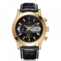 Ceas barbatesc Ouyawei mecanism automatic calendar complet bratara din piele neagra rezistent la apa 3ATM(30m) stil Fashion
