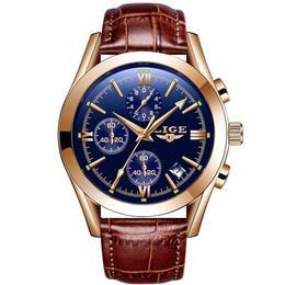 Ceas barbatesc Lige mecanism Quartz curea din piele maro rezistent la apa 3ATM(30m) calendar chronograph stil Business