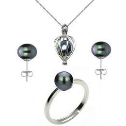 Set Perla Surpriza cu Inel si Cercei Perle Naturale Negre - Cadouri si Perle