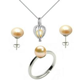 Set Perla Surpriza cu Inel si Cercei Perle Naturale Crem - Cadouri si Perle
