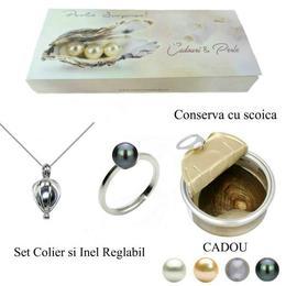 Set Perla Surpriza cu Inel Perle Naturale Negre - Cadouri si Perle
