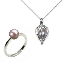 Set Perla Surpriza cu Inel Perle Naturale Lavanda - Cadouri si Perle