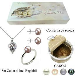 Set Perla Surpriza cu Inel si Cercei Perle Naturale Lavanda - Cadouri si Perle