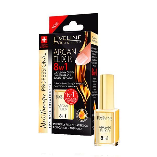 Ulei tratament pentru unghii si cuticule, Eveline Cosmetics, elixir 8 in 1 cu ulei de argan 12ml imagine produs