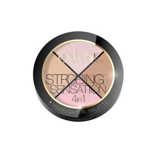 Paleta iluminatoare pentru fata, Eveline Cosmetics, Strobing Sensation 4 in 1, 12g imagine