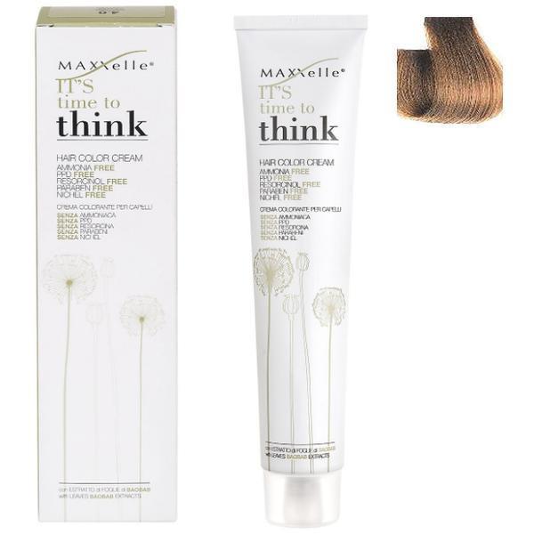 Vopsea de Par fara Amoniac cu Ulei de Argan - Maxxelle Think Hair Color Cream Ammonia-Free, nuanta 7.0 Blonde