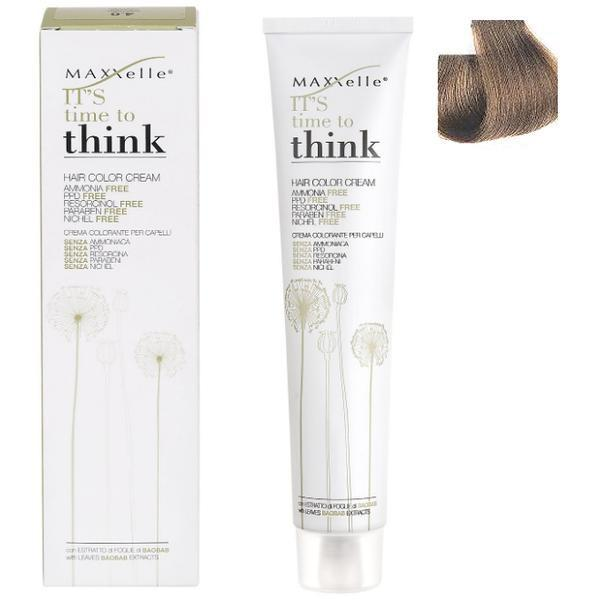 Vopsea de Par fara Amoniac cu Ulei de Argan - Maxxelle Think Hair Color Cream Ammonia-Free, nuanta 7.01 Iceberg Natural Blonde