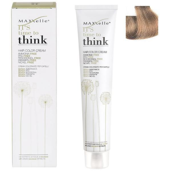 Vopsea de Par fara Amoniac cu Ulei de Argan - Maxxelle Think Hair Color Cream Ammonia-Free, nuanta 8.01 Iceberg Natural Light Blonde