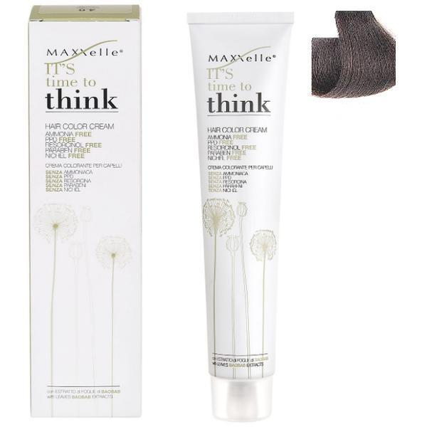Vopsea de Par fara Amoniac cu Ulei de Argan - Maxxelle Think Hair Color Cream Ammonia-Free, nuanta 5.3 Light Chestnut Golden