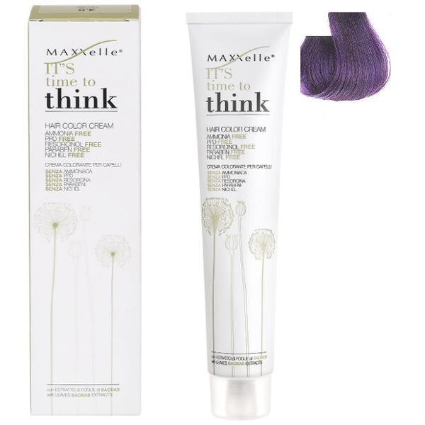 Vopsea de Par fara Amoniac cu Ulei de Argan - Maxxelle Think Hair Color Cream Ammonia-Free, nuanta 6.20 Purple Dark Blonde