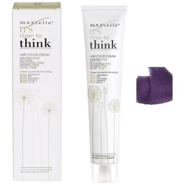 Vopsea de Par fara Amoniac cu Ulei de Argan - Maxxelle Think Hair Color Cream Ammonia-Free, nuanta Intensifier Violet imagine produs