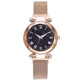 Ceas dama Geneva CS983, model Starry Sky, bratara magnetica, elegant, auriu