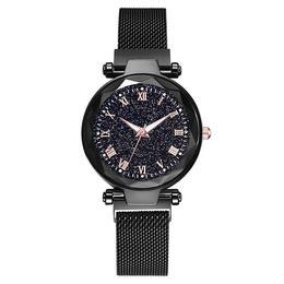 Ceas dama Geneva CS981, model Starry Sky, bratara magnetica, elegant, negru