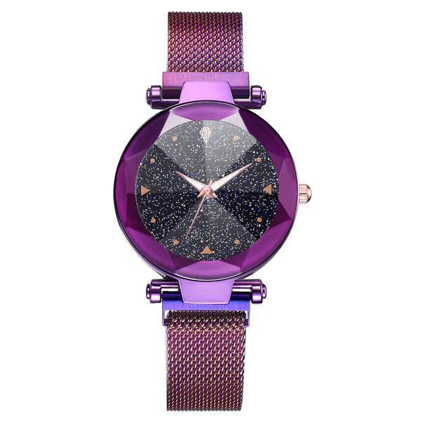 Ceas dama Geneva CS966, model Starry Sky, bratara magnetica, elegant, mov