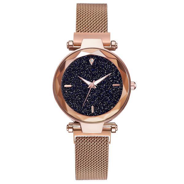 Ceas dama Geneva CS973, model Starry Sky, bratara magnetica, elegant, auriu